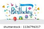 happy birthday typography...   Shutterstock .eps vector #1136796317