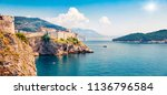 panoramic morning view of... | Shutterstock . vector #1136796584