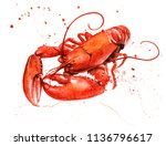Lobster Watercolor With Paint...