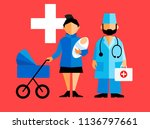 hospital characters  doctor and ... | Shutterstock .eps vector #1136797661