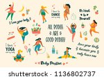 body positive. happy plus size... | Shutterstock .eps vector #1136802737