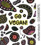 go vegan poster design with... | Shutterstock .eps vector #1136803871