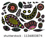 hand drawn tropical and exotic... | Shutterstock .eps vector #1136803874