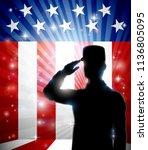 a patriotic american soldier... | Shutterstock .eps vector #1136805095