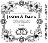 a wedding invitation invite...   Shutterstock .eps vector #1136805134