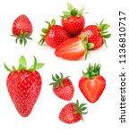 strawberry isolated on white... | Shutterstock . vector #1136810717