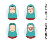 blue tosca hijab hijaber wears... | Shutterstock .eps vector #1136811959