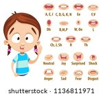 mouth animation set for cute... | Shutterstock .eps vector #1136811971