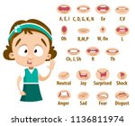mouth animation set for... | Shutterstock .eps vector #1136811974