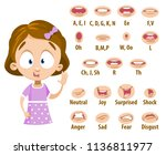 mouth animation set for cute... | Shutterstock .eps vector #1136811977
