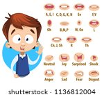 mouth animation set for cute... | Shutterstock .eps vector #1136812004