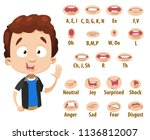 mouth animation set for cute... | Shutterstock .eps vector #1136812007