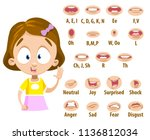 mouth animation set for cute... | Shutterstock .eps vector #1136812034