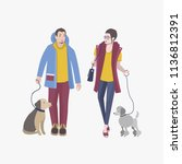 young guy and girl walking with ... | Shutterstock . vector #1136812391