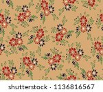 flowers  pattern with background   Shutterstock .eps vector #1136816567