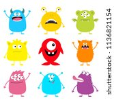 cute monster icon set. happy... | Shutterstock .eps vector #1136821154