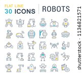 set of vector line icons  sign... | Shutterstock .eps vector #1136821571