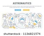 line banner of astronautics.... | Shutterstock .eps vector #1136821574