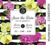 wedding invitation layout... | Shutterstock .eps vector #1136824934