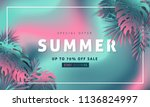 summer sale background layout... | Shutterstock .eps vector #1136824997