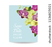 wedding invitation layout... | Shutterstock .eps vector #1136825021