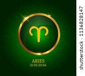 horoscope. aries. zodiac icon.... | Shutterstock .eps vector #1136828147