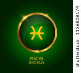 horoscope. pisces. zodiac icon. ... | Shutterstock .eps vector #1136828174