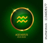 horoscope. aquarius. zodiac... | Shutterstock .eps vector #1136828177