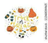 halloween hand drawn modern... | Shutterstock .eps vector #1136834465