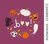 halloween hand drawn modern... | Shutterstock .eps vector #1136834471