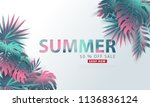 summer sale background layout... | Shutterstock .eps vector #1136836124