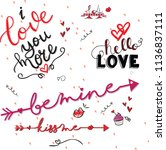 valentine's day doodles to use... | Shutterstock .eps vector #1136837111