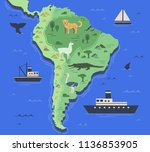 stylized map of south america... | Shutterstock .eps vector #1136853905
