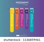 5 steps infographic. timeline... | Shutterstock .eps vector #1136859461
