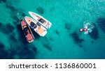 aerial drone top view of docked ... | Shutterstock . vector #1136860001