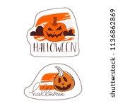 heerful pumpkin. happy... | Shutterstock .eps vector #1136862869