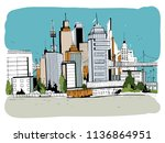 megalopolis city  street... | Shutterstock . vector #1136864951