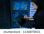 smart woman technician or... | Shutterstock . vector #1136870021