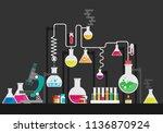 medical laboratory flat vector... | Shutterstock .eps vector #1136870924