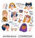 sticker set of women of... | Shutterstock .eps vector #1136882264