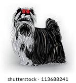 yorkshire terrier with red bow | Shutterstock .eps vector #113688241