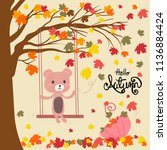 Stock vector a teddy bear siting on a swing under falling leave tree and umbrella full of colourful leaves 1136884424