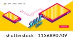 isometric sale banner business...