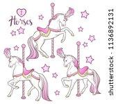 cute carousel horses and stars... | Shutterstock .eps vector #1136892131