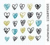 doodle heart icons set. hand... | Shutterstock .eps vector #1136895005