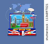 concept of travel to england or ...   Shutterstock . vector #1136897021