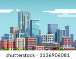 city downtown with skyscrapers  ... | Shutterstock .eps vector #1136906081