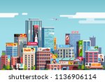 city downtown scenery with... | Shutterstock .eps vector #1136906114