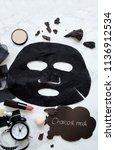 charcoal peel off mask   ... | Shutterstock . vector #1136912534