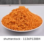 potato bhujiya or alo bhujiya... | Shutterstock . vector #1136913884
